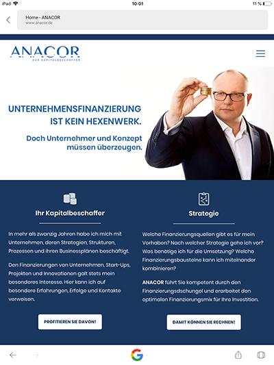 ANACOR-Startseite Tablet