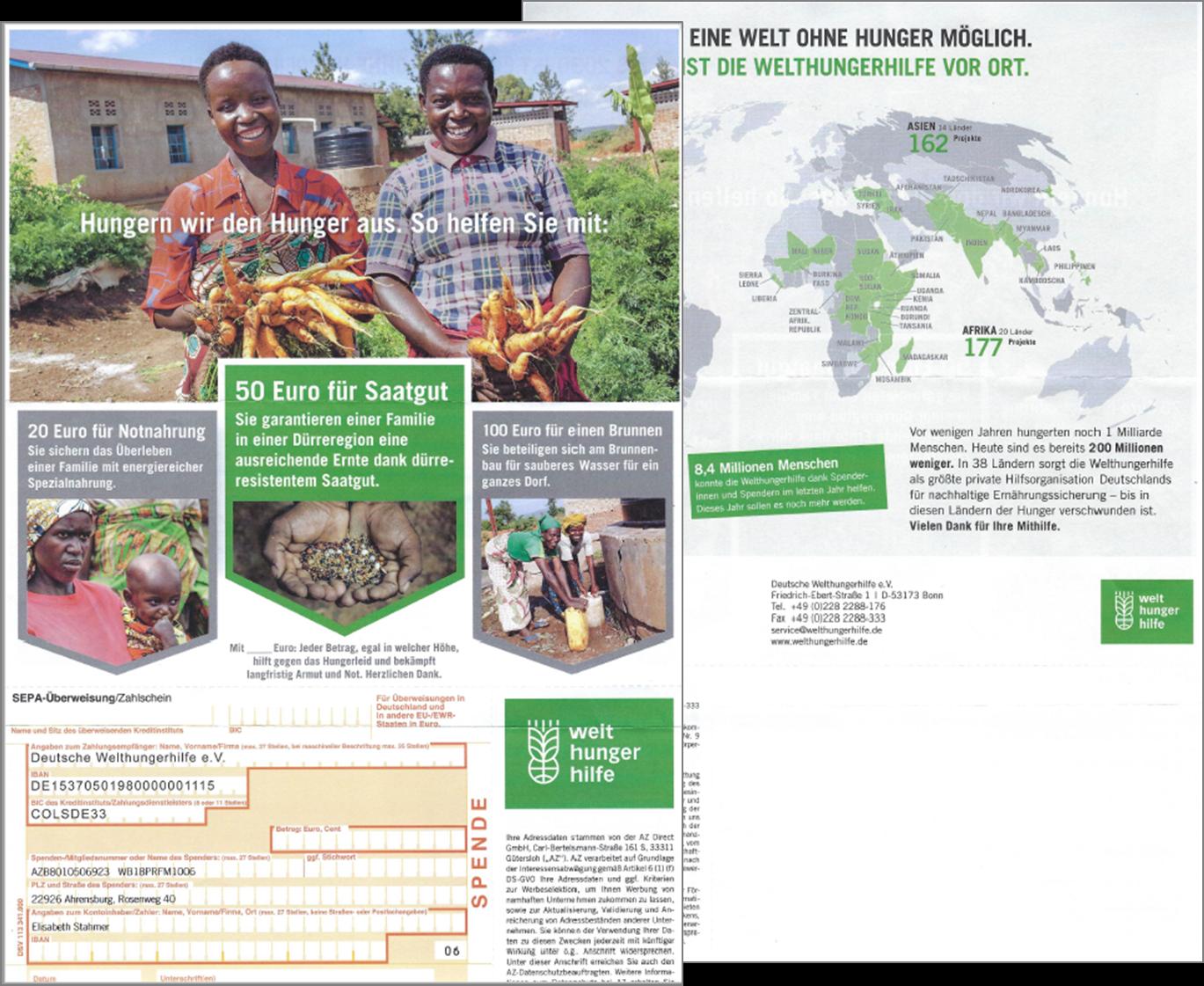 Mailing Welthungerhilfe e.V. Anlage 1 mit Überweisungsträger