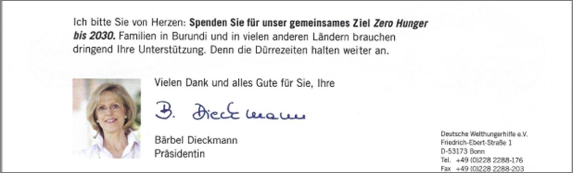 Mailing Welthungerhilfe e.V. Unterschrift